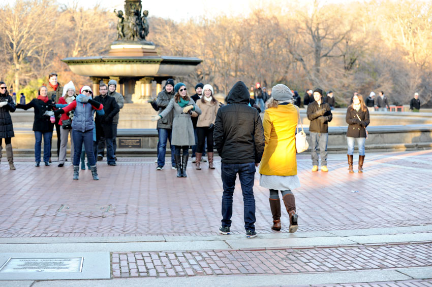 Bethesda Fountain Central Park Flash Mob Proposal | New York City Wedding Photographer | Mikkel Paige Photography
