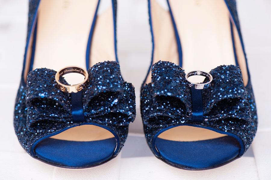 Walt Disney World BoardWalk Wedding | Destination Wedding Photographer | Kate Spade Navy Glitter Heels and Cartier Wedding Bands