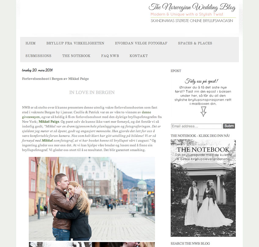 Engagement session in Bergen, Norway. Photos by Destination Wedding Photographer, Mikkel Paige Photography.  Featured on Norwegian Wedding Blog.