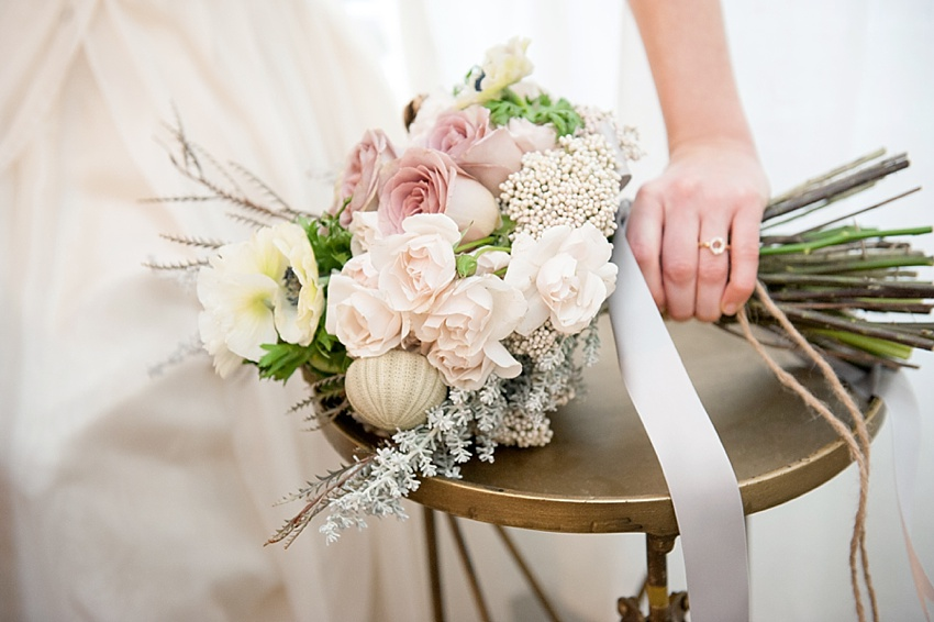 One Bride, Four Ways Inspiration Styled Shoot. Photos by Mikkel Paige Photography. Seaside beach bouquet.
