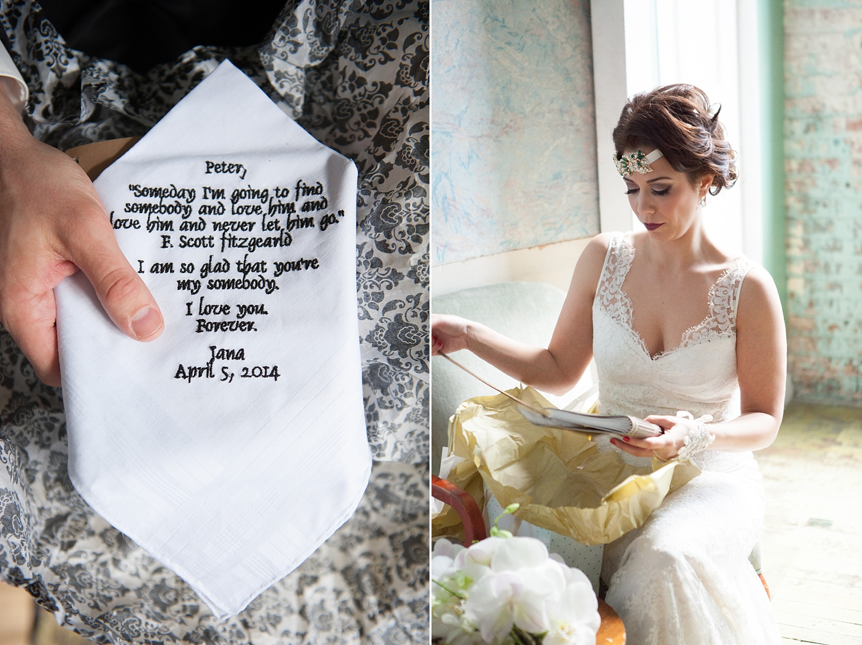 Embroidered handkerchief at a Metropolitan Building vintage 1920's wedding. Images by Mikkel Paige Photography.
