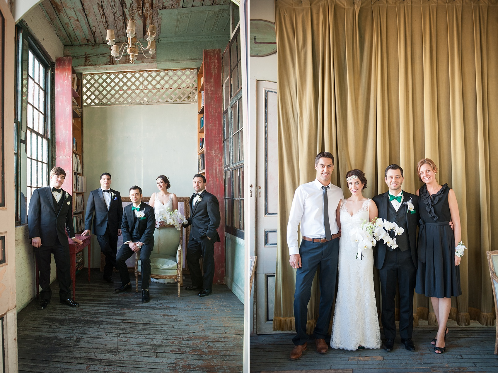 Wedding party portraits at the Metropolitan Building vintage 1920's wedding. Images by Mikkel Paige Photography.