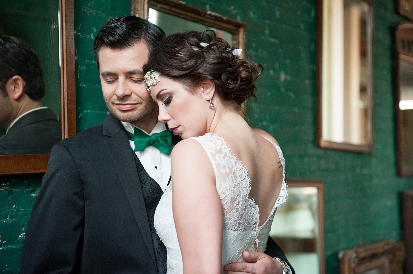 Bride and groom portraits at the Metropolitan Building vintage 1920's wedding. Images by Mikkel Paige Photography.