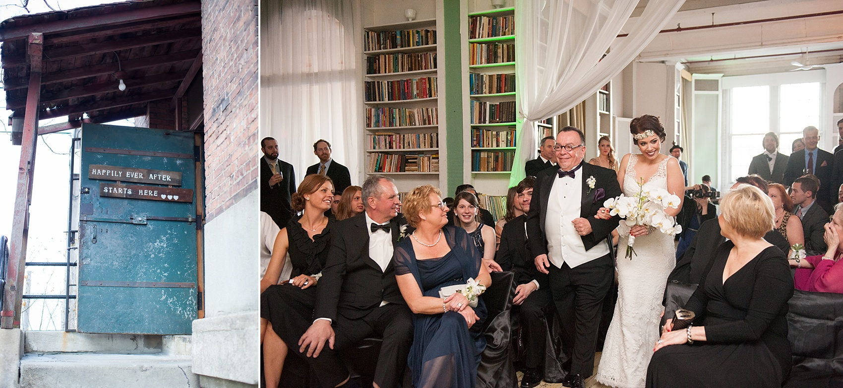 Ceremony at the Metropolitan Building vintage 1920's wedding. Images by Mikkel Paige Photography.
