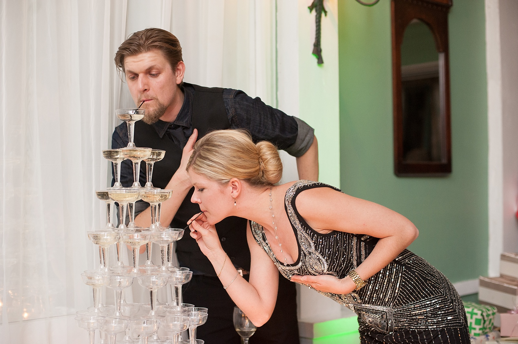 Champagne tower at a vintage reception at the Metropolitan Building. Images by Mikkel Paige Photography.