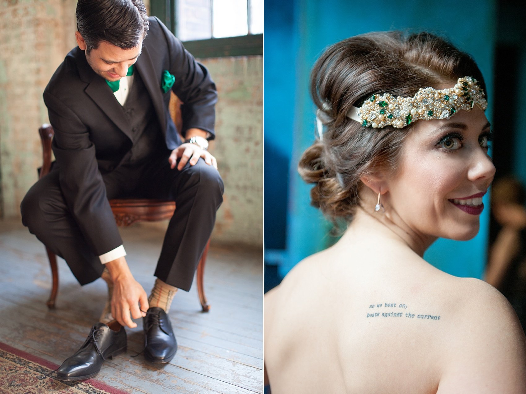 Metropolitan Building vintage 1920's wedding. Complete with bride's new tattoo of a Fitzgerald quote. Images by Mikkel Paige Photography.