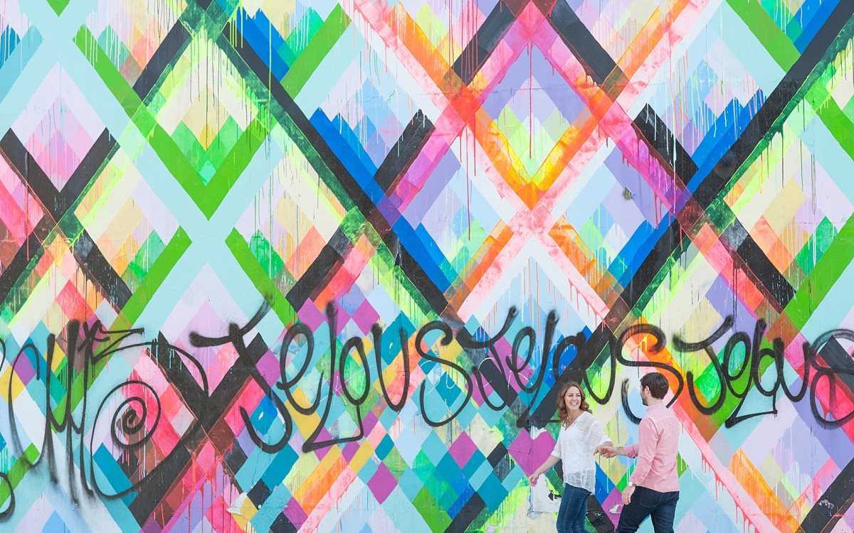 Couple's Session: Stacy and Greg • Maya Hayuk Neon Geometric Mural at Bowery and Houston