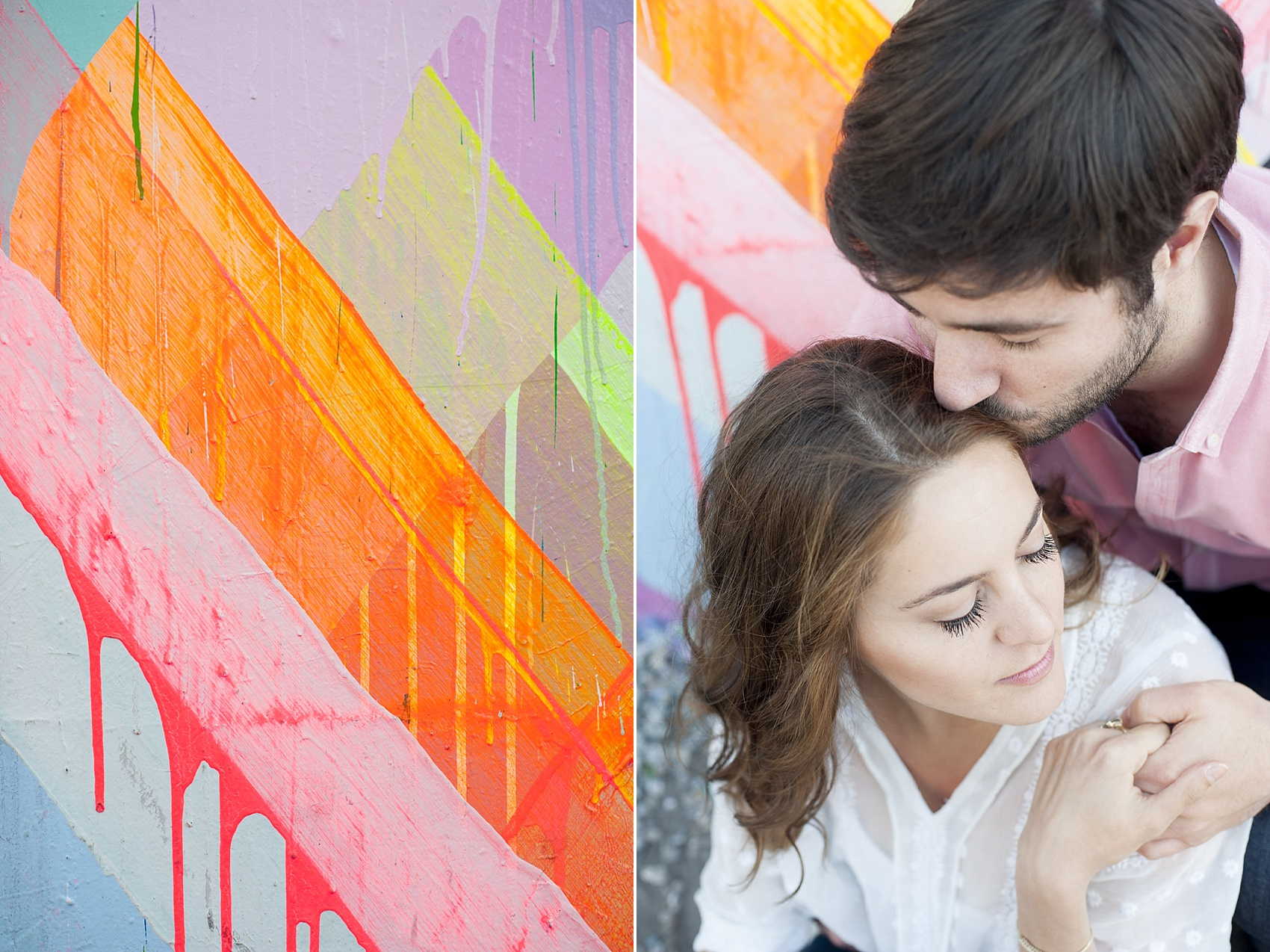 Couple's session at the Maya Hayuk geometric neon mural wall on Bowery Street in Manhattan. Photos by NYC wedding photographer, Mikkel Paige Photography.