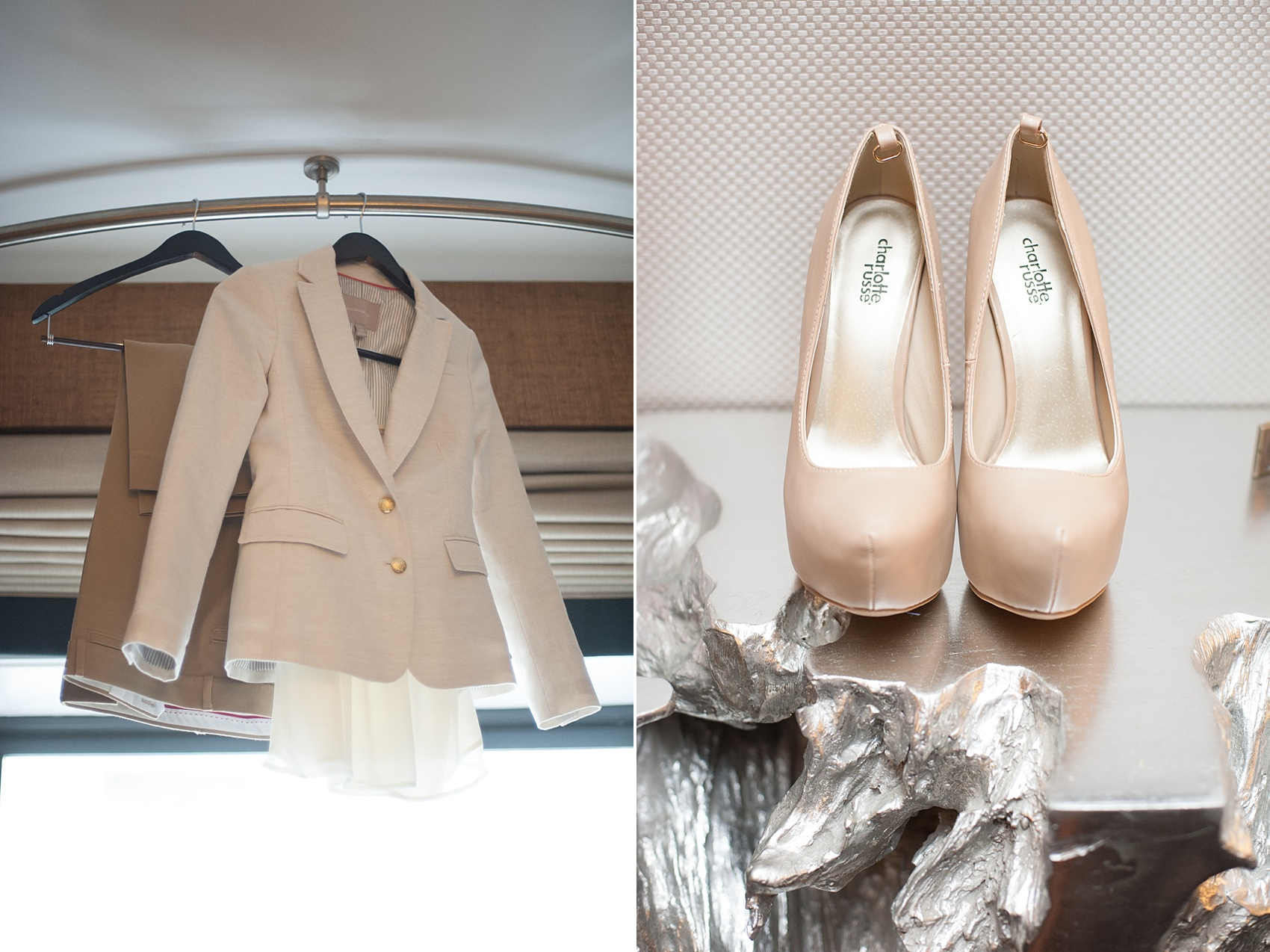 The bride's blazer and suit for her same sex wedding. Elopement in Central Park with photos by Mikkel Paige Photography. #nycwedidng #samesexmarriage #equality #nudeheels #weddingoutfit #nycweddingphotographer
