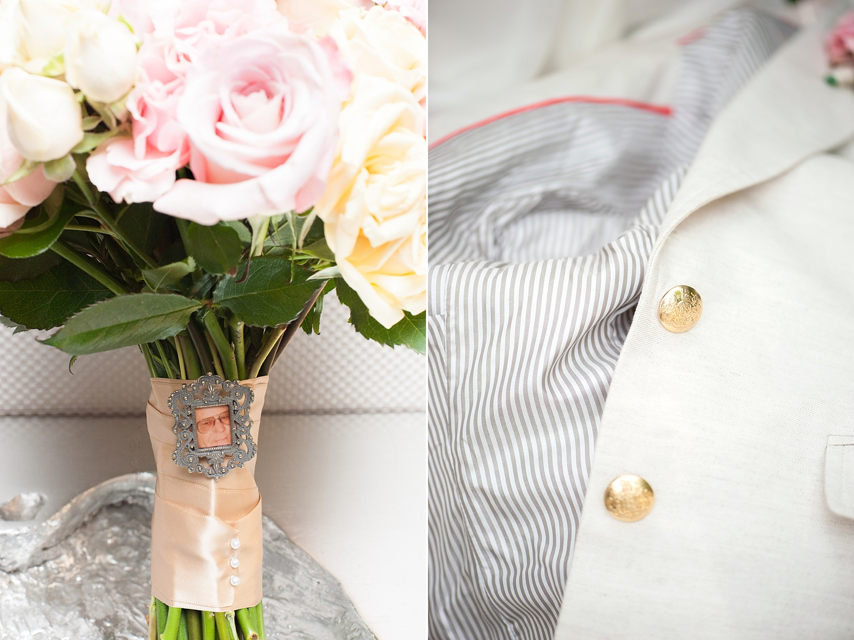 Pink rose bouquet with a photo keepsake of the bride's grandfather attached to the stems for a Central Park same sex wedding elopement. Photos by Mikkel Paige Photography. #boutonniere #roses #equality #centralparkwedding