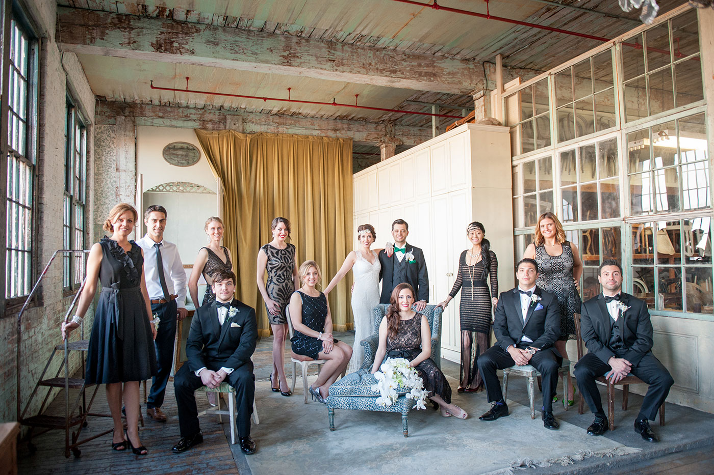 Gatsby inspired 1920s wedding party. Image by Mikkel Paige Photography.