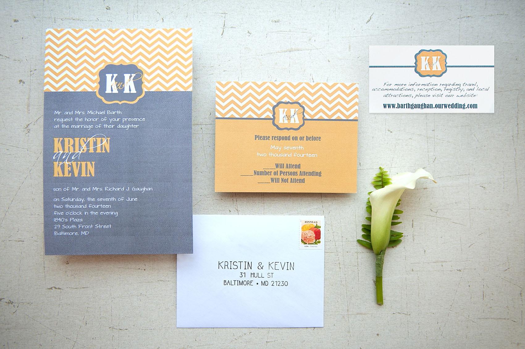 Wedding Invitations In Maryland: Grey & Orange 1840s Ballroom Wedding • Kristin + Kevin