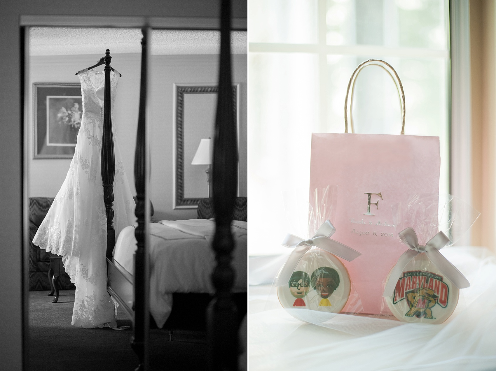 Gift bag and dress photos. Images by Mikkel Paige Photography at The Conservatory at the Madison Hotel, New Jersey.