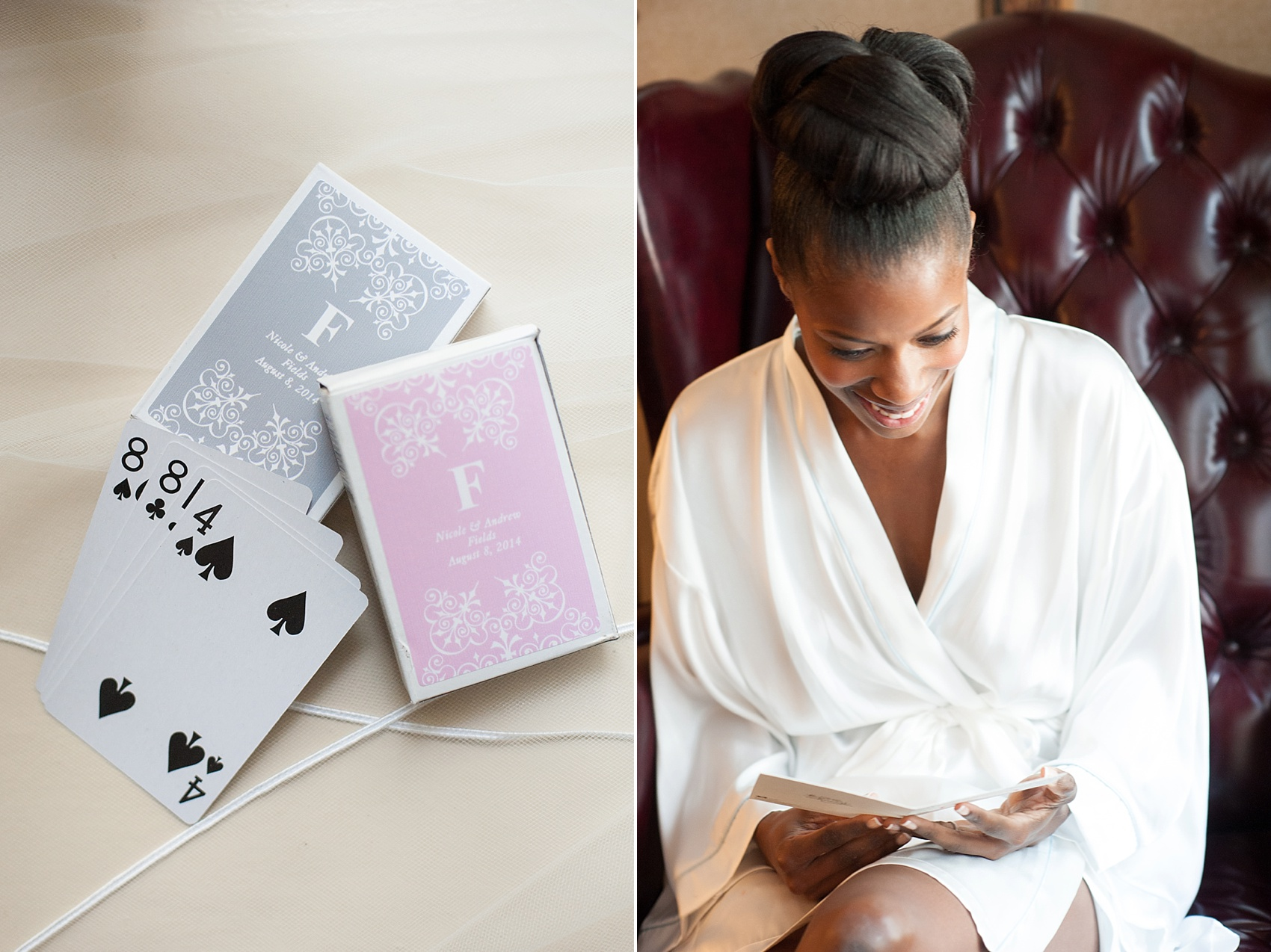 Bride prep and custom playing cards. Images by Mikkel Paige Photography at The Conservatory at the Madison Hotel, New Jersey.