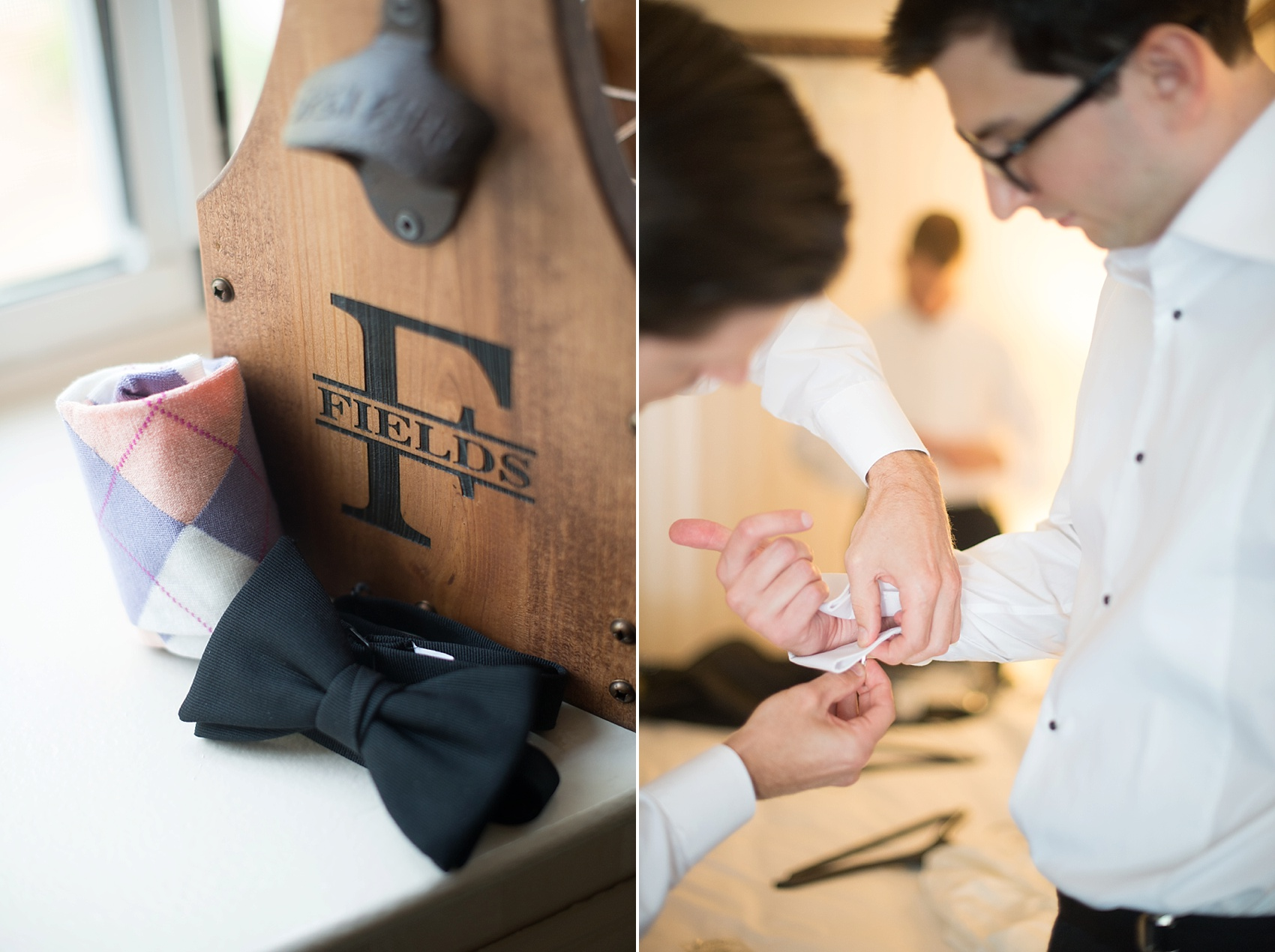 Groom preparations and 6-pack wooden tote from Etsy. Photos by Mikkel Paige Photography at The Conservatory at the Madison Hotel, New Jersey.