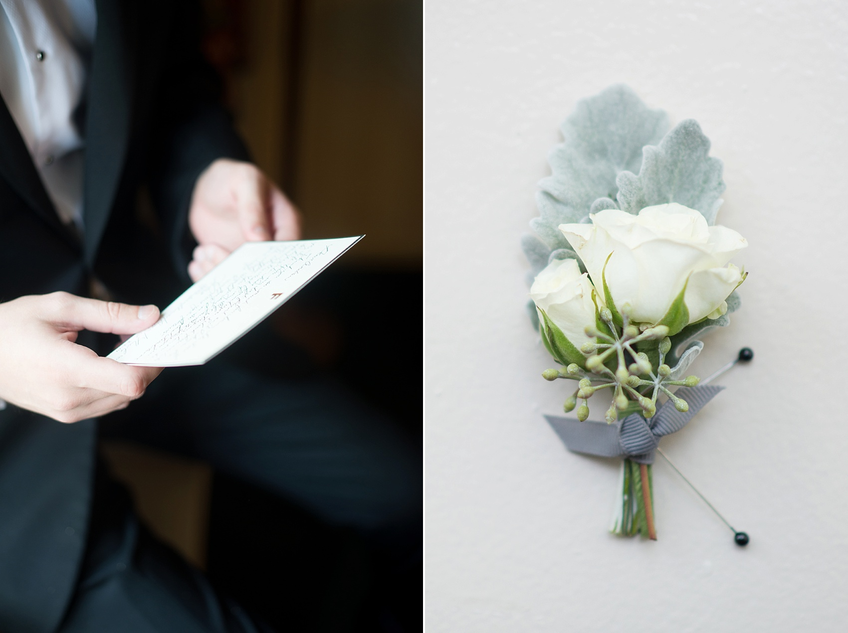 Rose and dusty miller boutonniere and groom preparations. Photos by Mikkel Paige Photography at The Conservatory at the Madison Hotel, New Jersey.