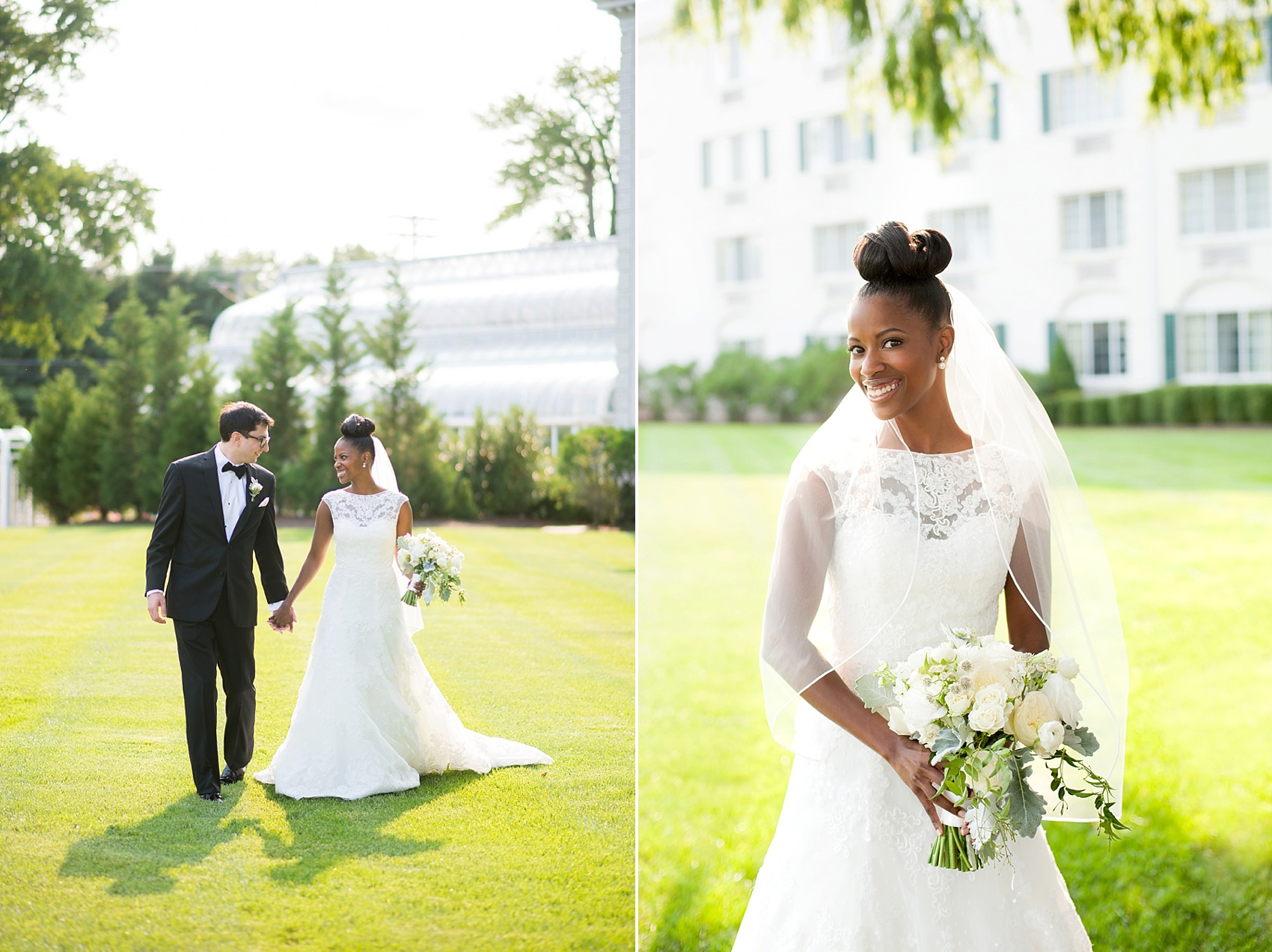 Bride and groom at The Conservatory at the Madison Hotel, New Jersey. Photos by Mikkel Paige Photography.