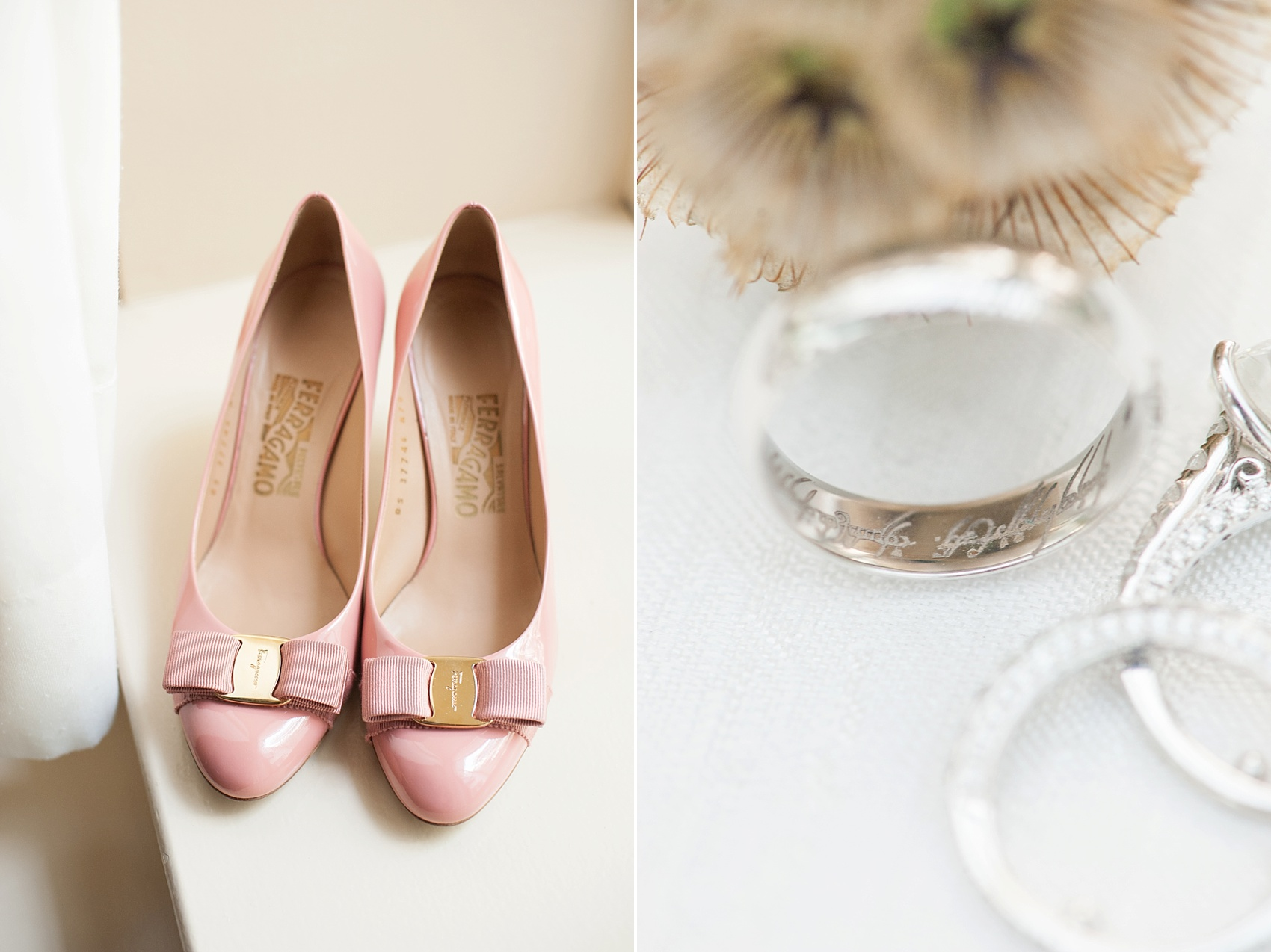 Pink Ferragamo heels and Lord of the Rings engraved wedding band at The Conservatory at the Madison Hotel, New Jersey. Photos by Mikkel Paige Photography.