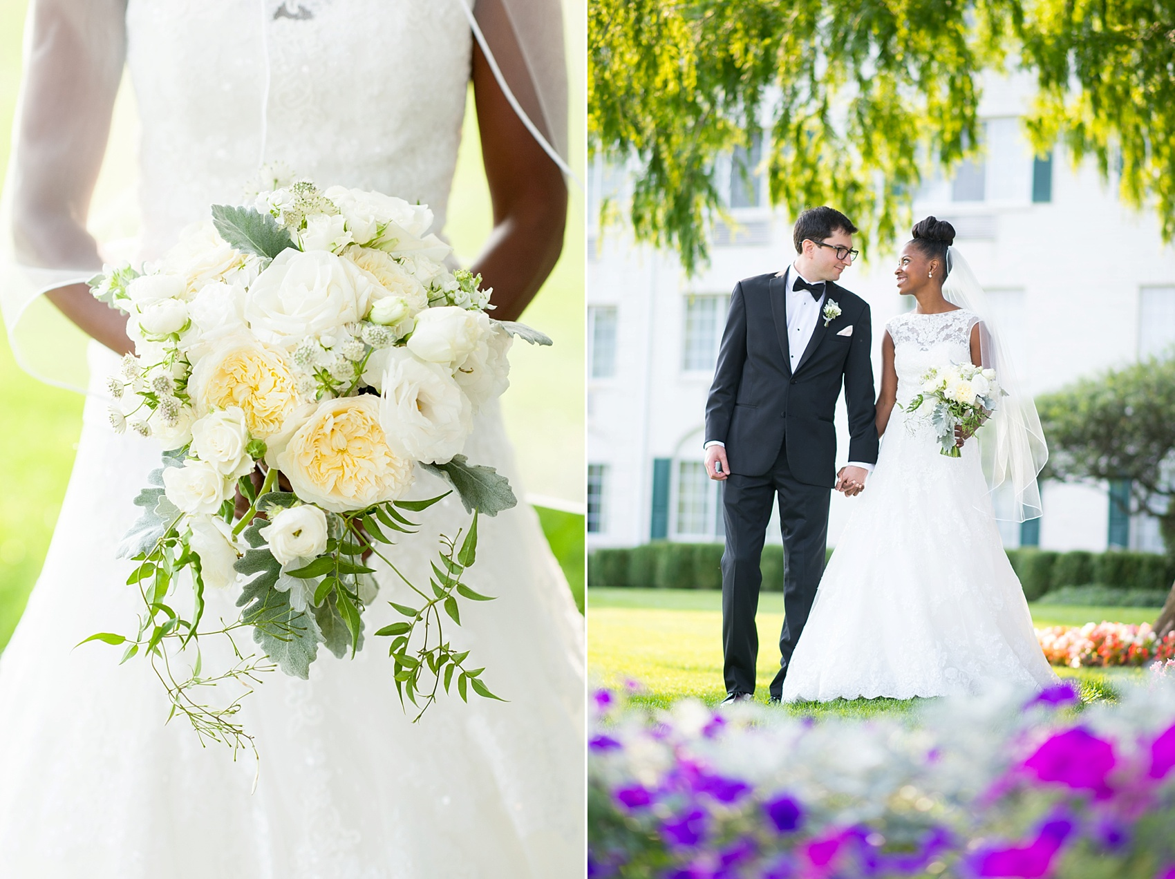 White wedding bouquet at The Conservatory at the Madison Hotel, New Jersey. Photos by Mikkel Paige Photography.