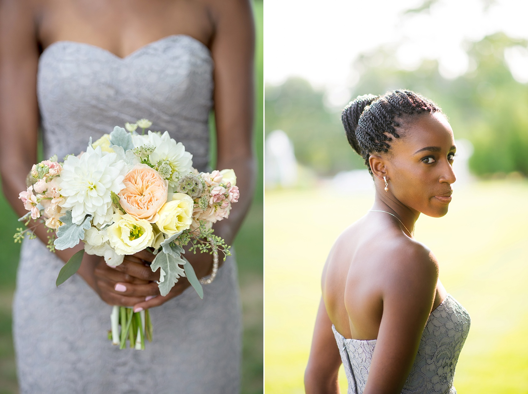 Bridesmaid bouquet of white and peach and grey lace dress at The Conservatory at the Madison Hotel, New Jersey. Photos by Mikkel Paige Photography.