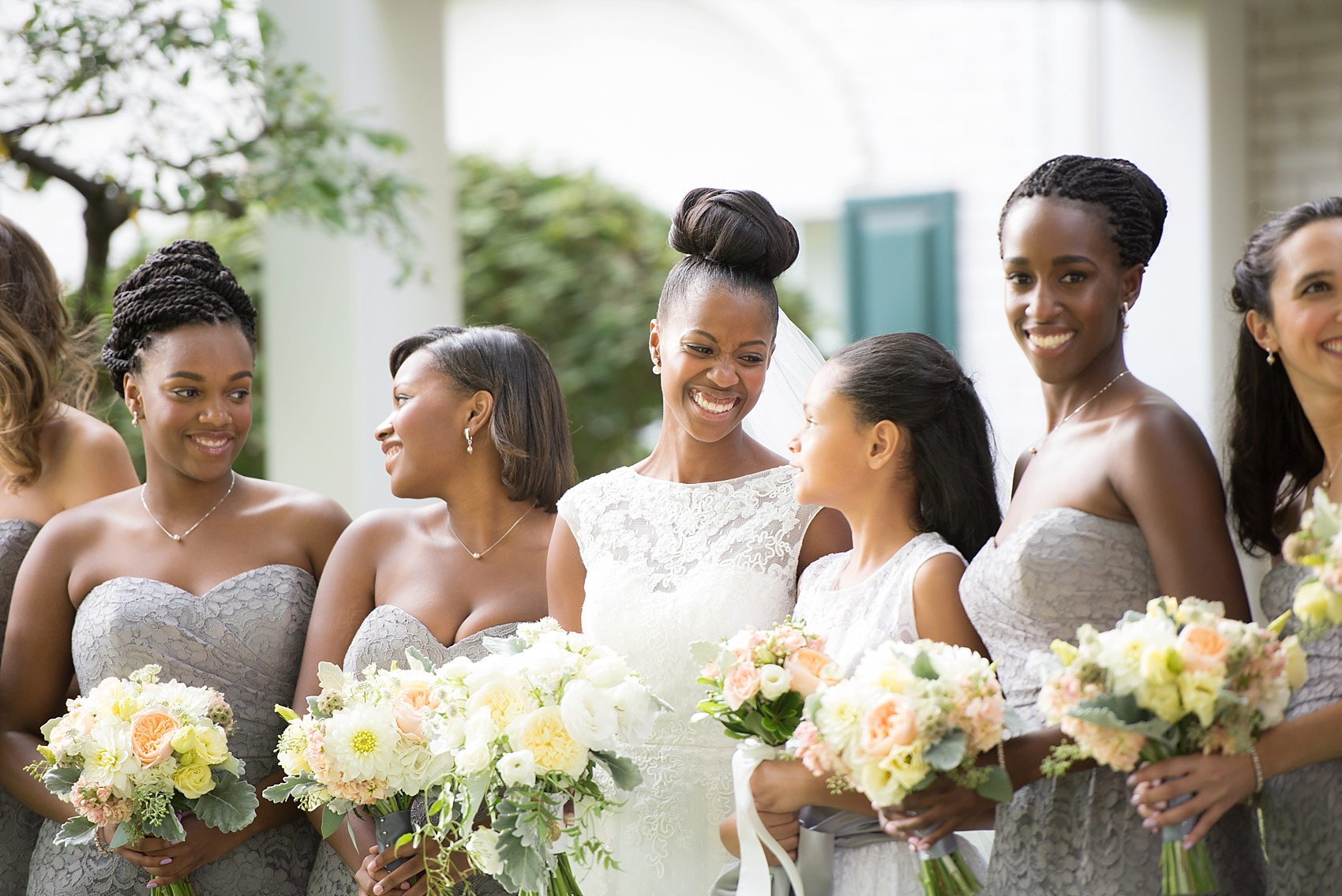 Wedding party in grey lace at The Conservatory at the Madison Hotel, New Jersey. Photos by Mikkel Paige Photography.