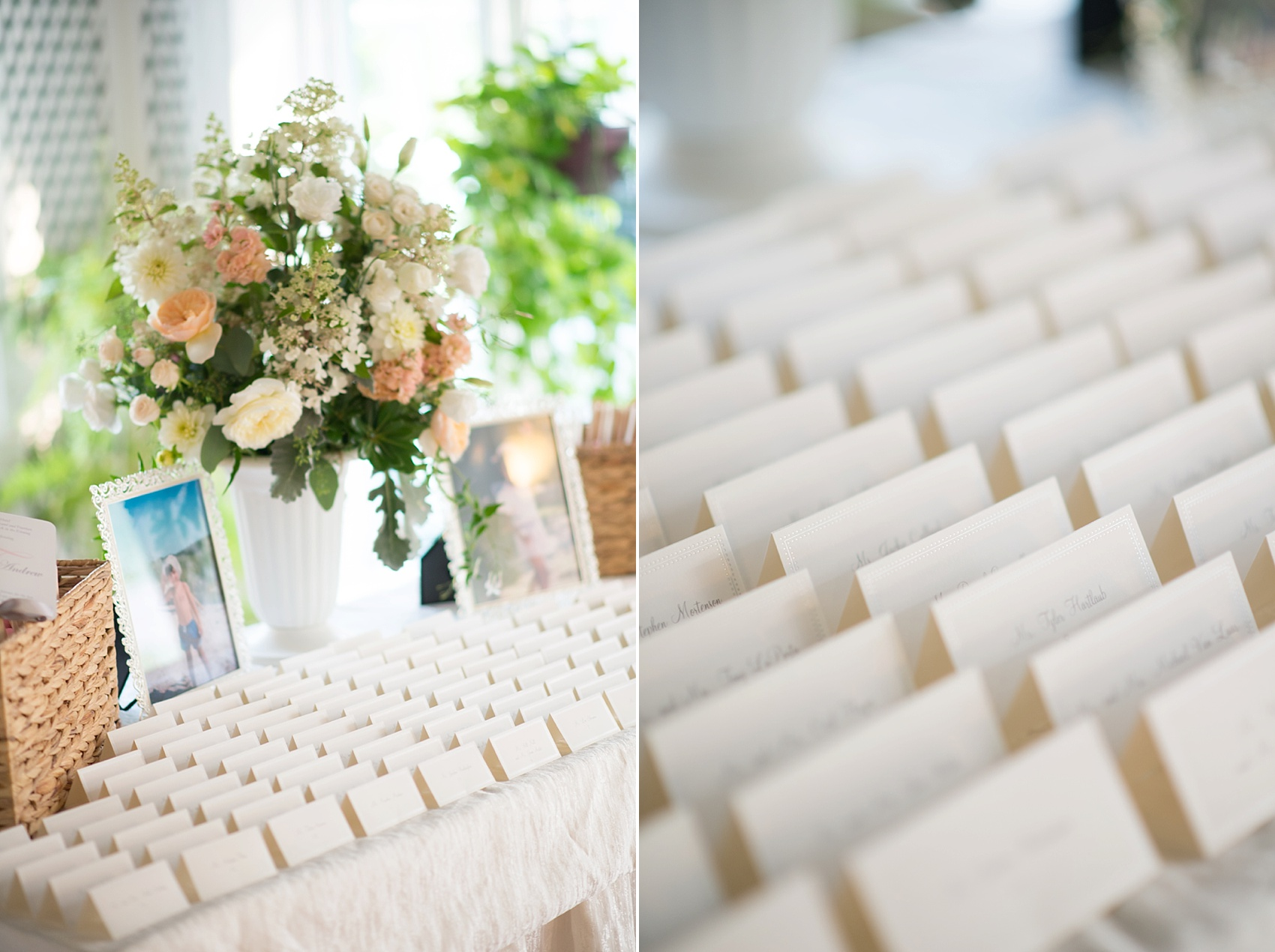 Wedding escort cards at the Conservatory at The Madison Hotel, New Jersey. Photos by Mikkel Paige Photography.