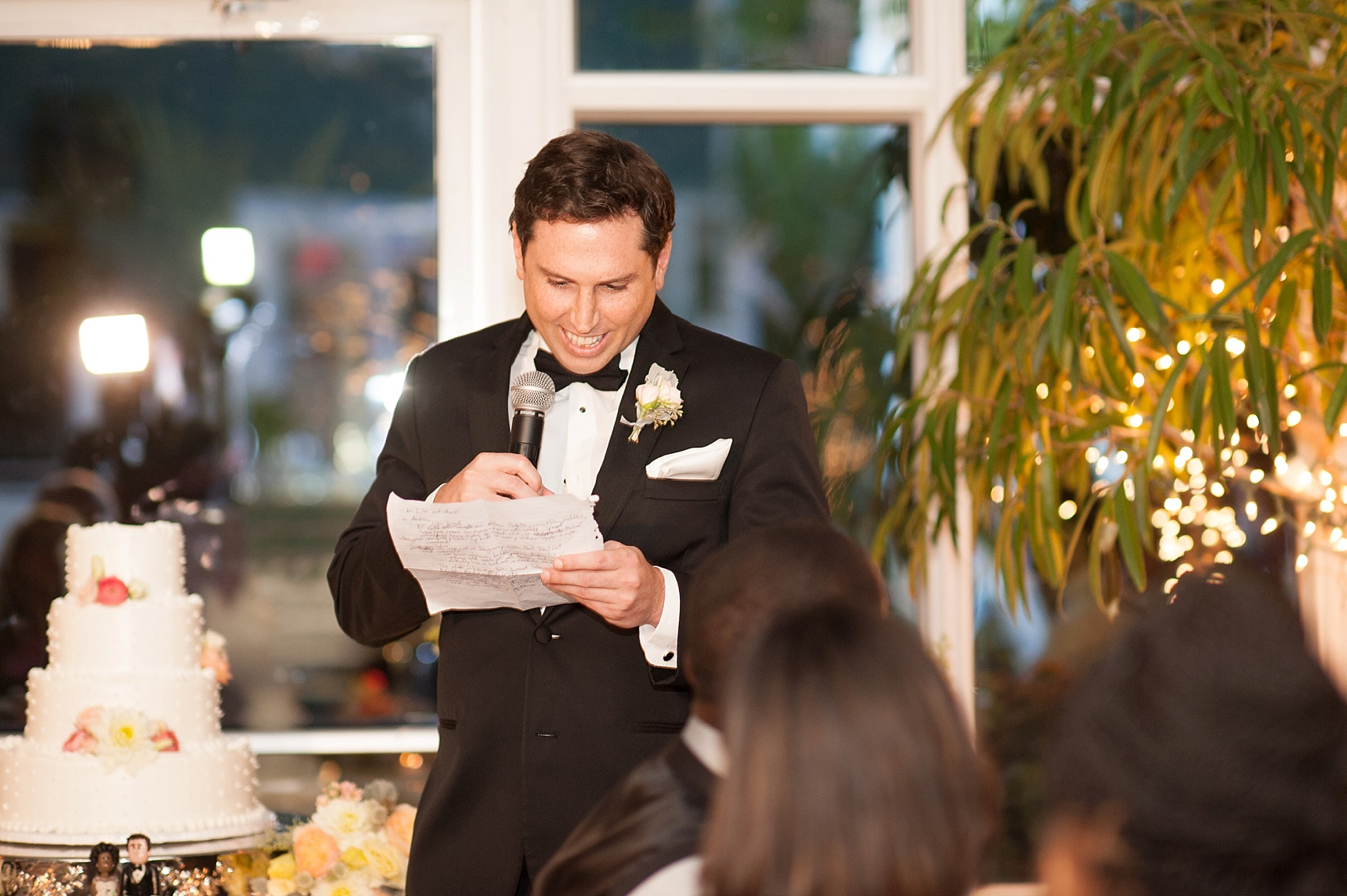Best man speech at a wedding reception at the Conservatory at The Madison Hotel, New Jersey. Photos by Mikkel Paige Photography.