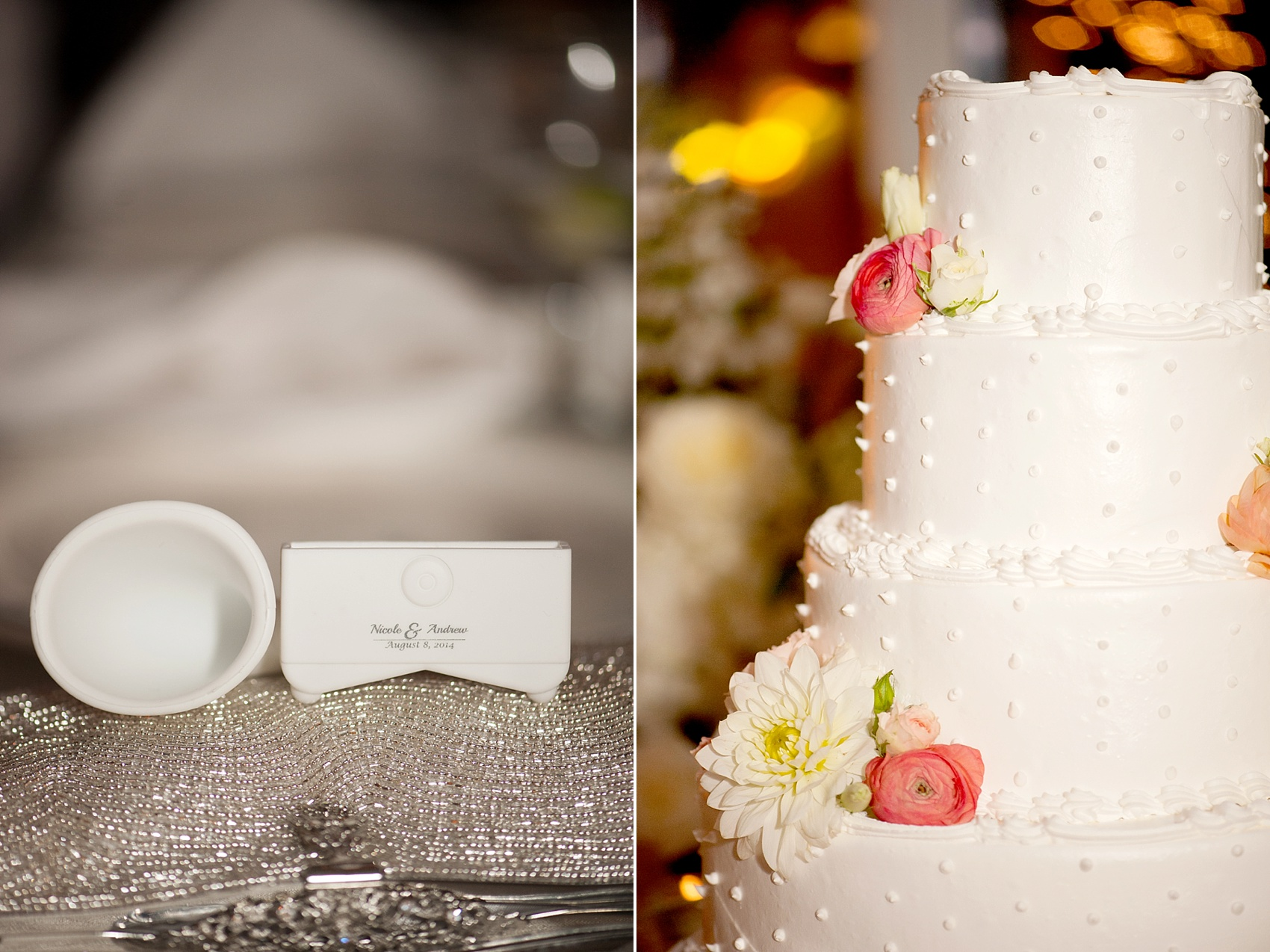 iPhone speaker favor and swiss dot buttercream cake. Wedding reception at the Conservatory at The Madison Hotel, New Jersey. Photos by Mikkel Paige Photography.