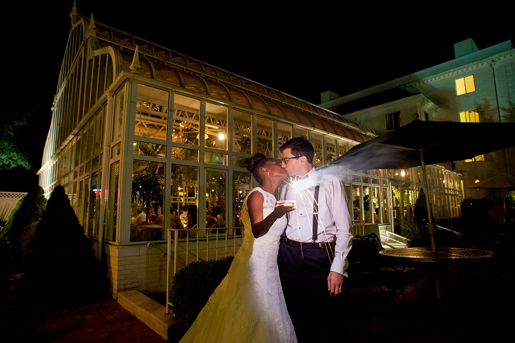 Sparkler photos at wedding reception at the Conservatory at The Madison Hotel, New Jersey. Photos by Mikkel Paige Photography.
