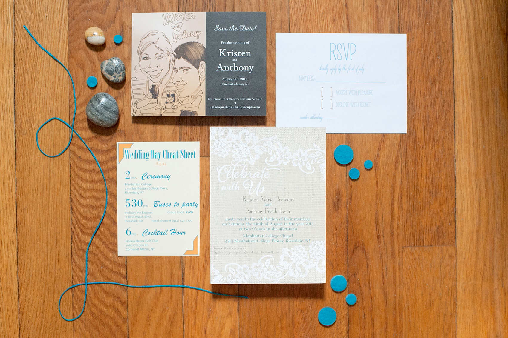 Rustic wedding invitation with caricature of the bride and groom. Photo by Mikkel Paige Photography.