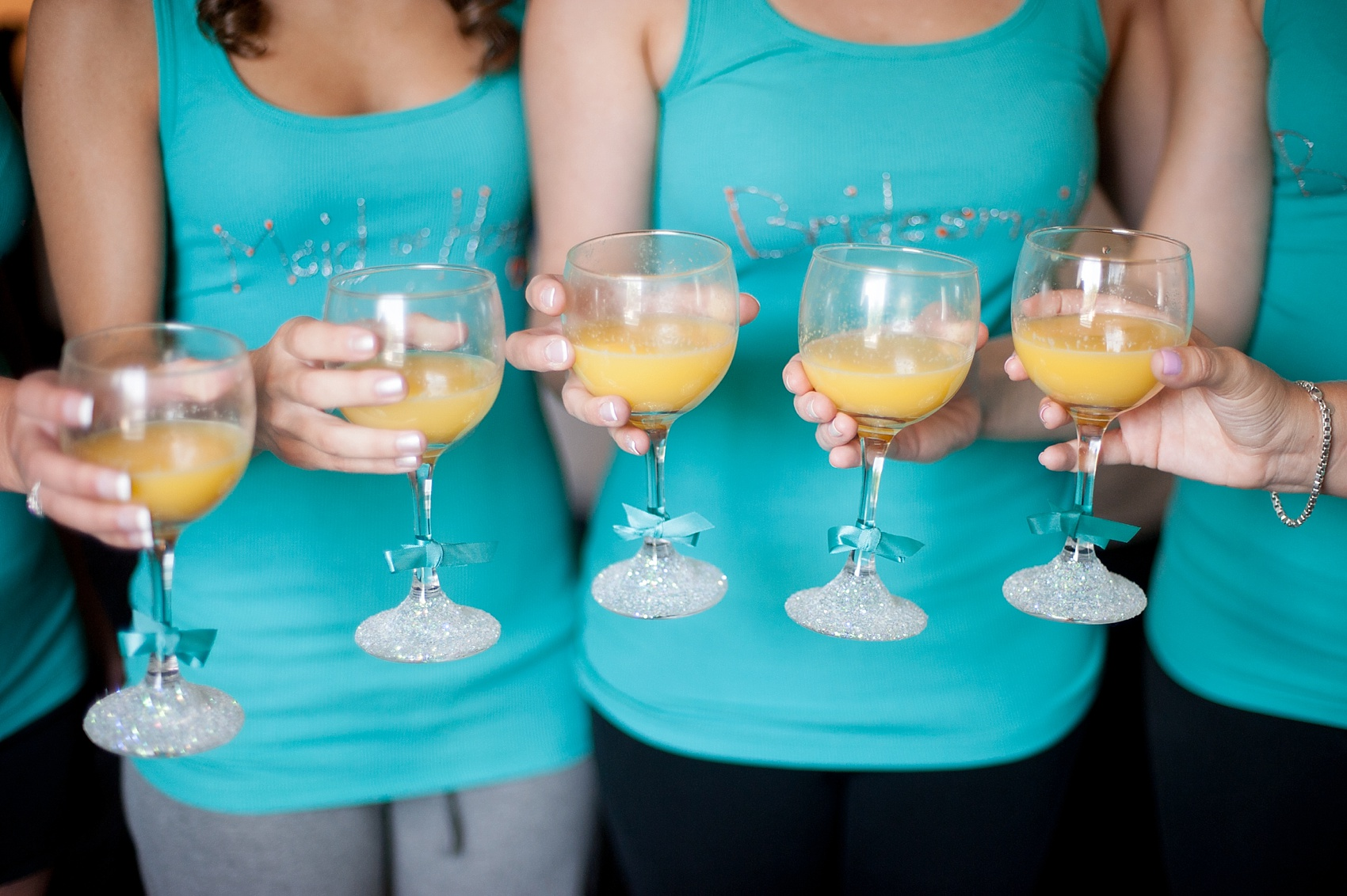 Bridesmaids custom wine glasses for morning mimosas. Wedding at Hollow Brook Golf Club, New York. Photo by Mikkel Paige Photography.