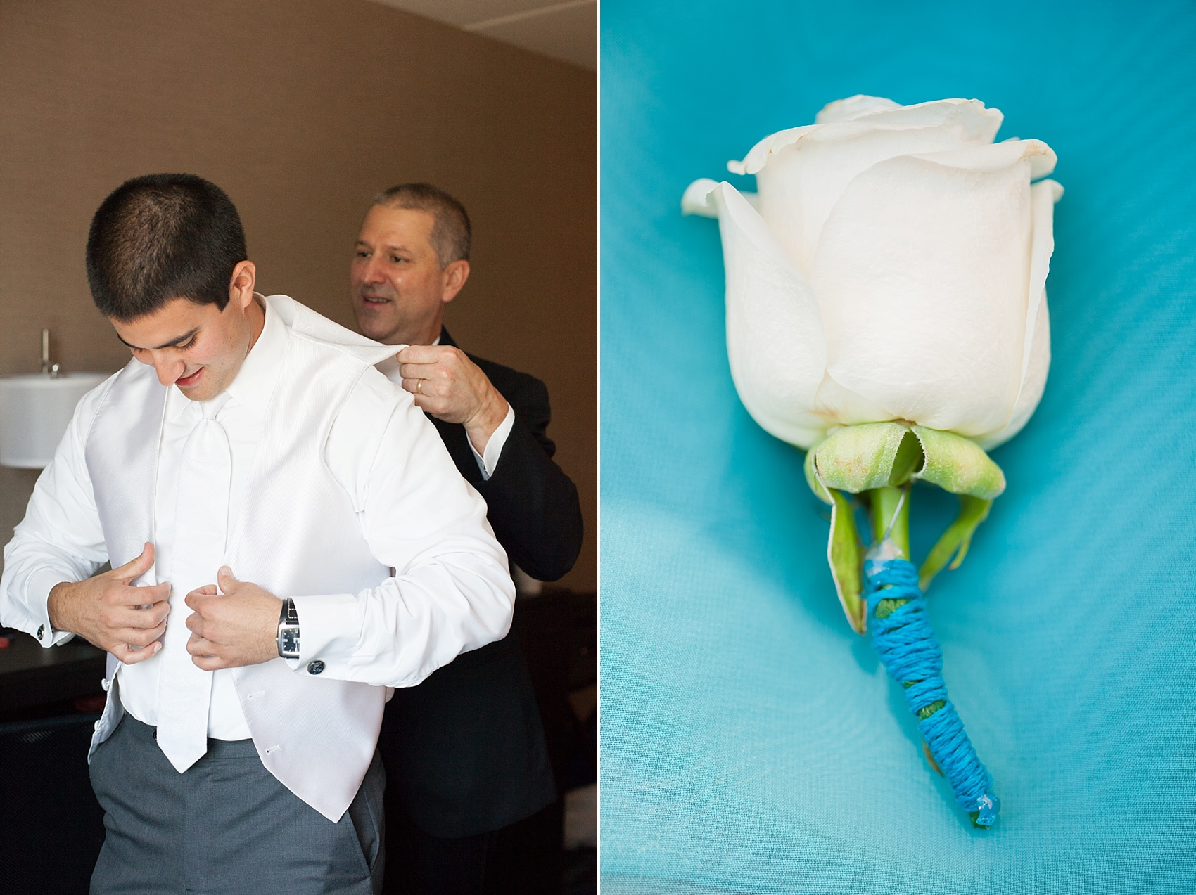Teal wrapped white rose boutonniere for the groom getting ready. Photos by Mikkel Paige Photography for a Hollow Brook Golf Club wedding.