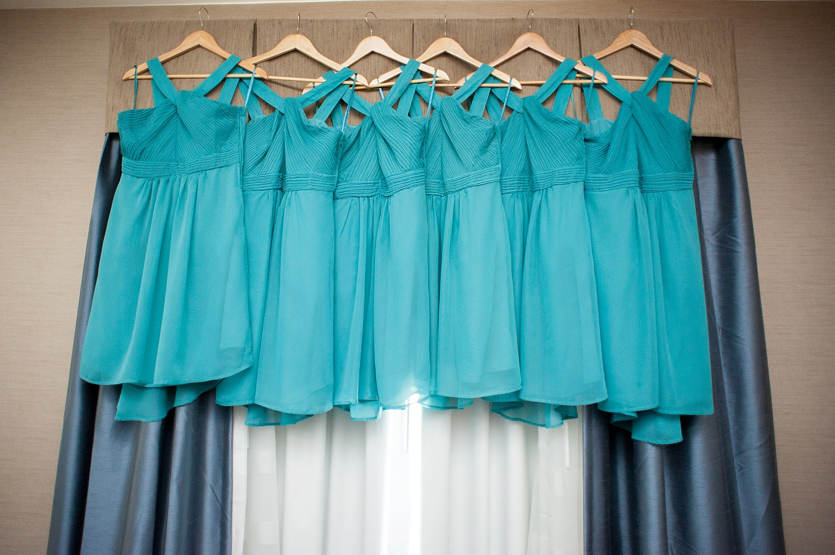 Teal bridesmaids dresses for a Hollow Brook Golf Club wedding. Photos by Mikkel Paige Photography, New York Wedding Photographer.