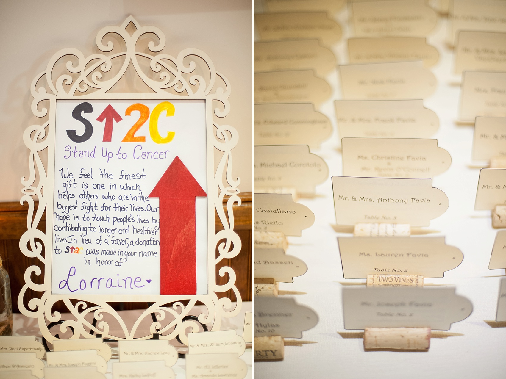 Stand Up to Cancer donation in lieu of wedding favors for a Hollow Brook Golf Club wedding in NY. Photos by Mikkel Paige Photography.