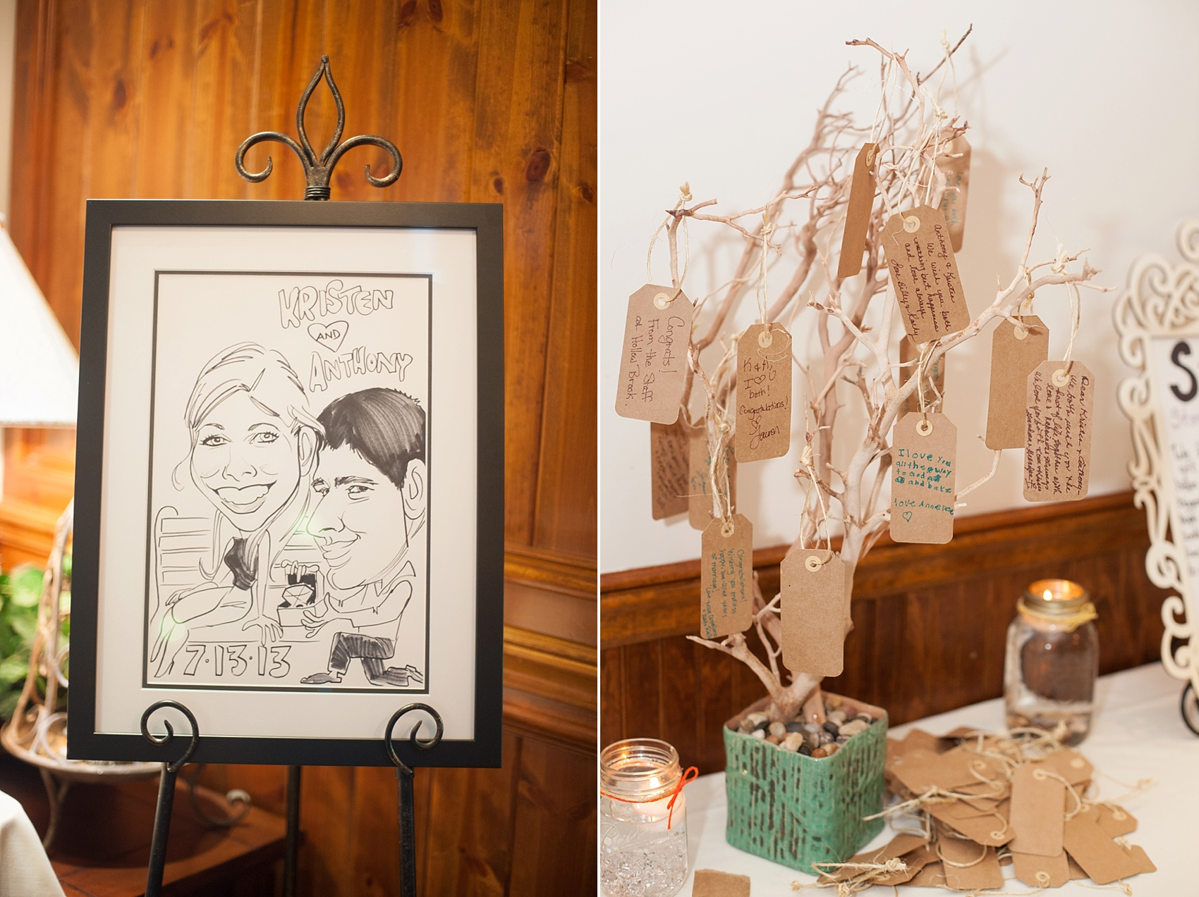 Caricature of the bride and groom for a Hollow Brook Golf Club wedding in NY. Photos by Mikkel Paige Photography.