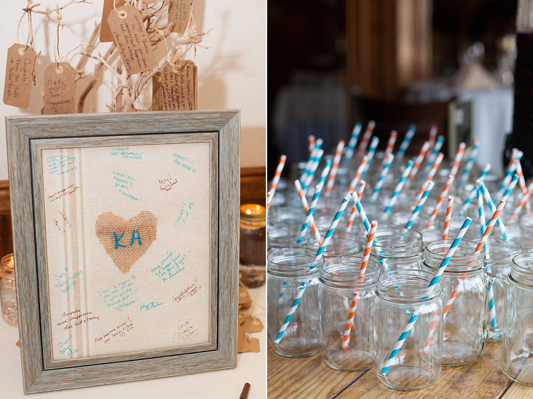 Guest book frame and mason jars with striped paper straws for a Hollow Brook Golf Club wedding in NY. Photos by Mikkel Paige Photography.