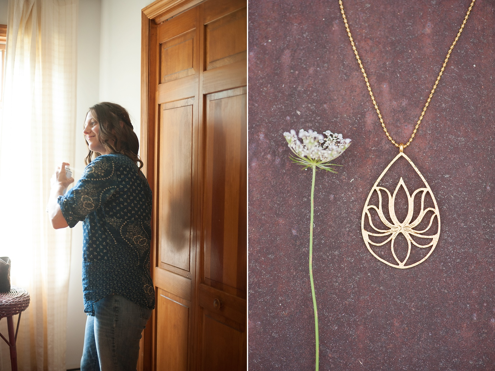 Satya lotus necklace for the bride, as she gets ready for her Berkshires wedding at Camp Wa Wa Segowea. Photos by Mikkel Paige Photography, destination wedding photographer.