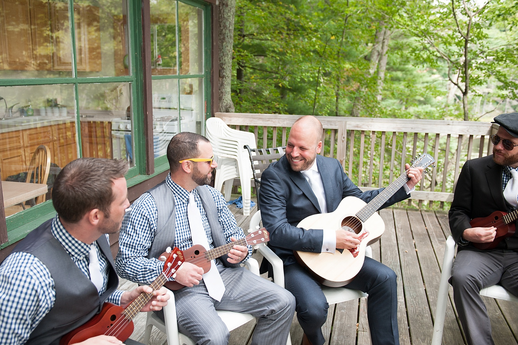 Groom ukelele gifts for a Berkshires wedding at Camp Wa Wa Segowea. Photos by Mikkel Paige Photography, destination wedding photographer.