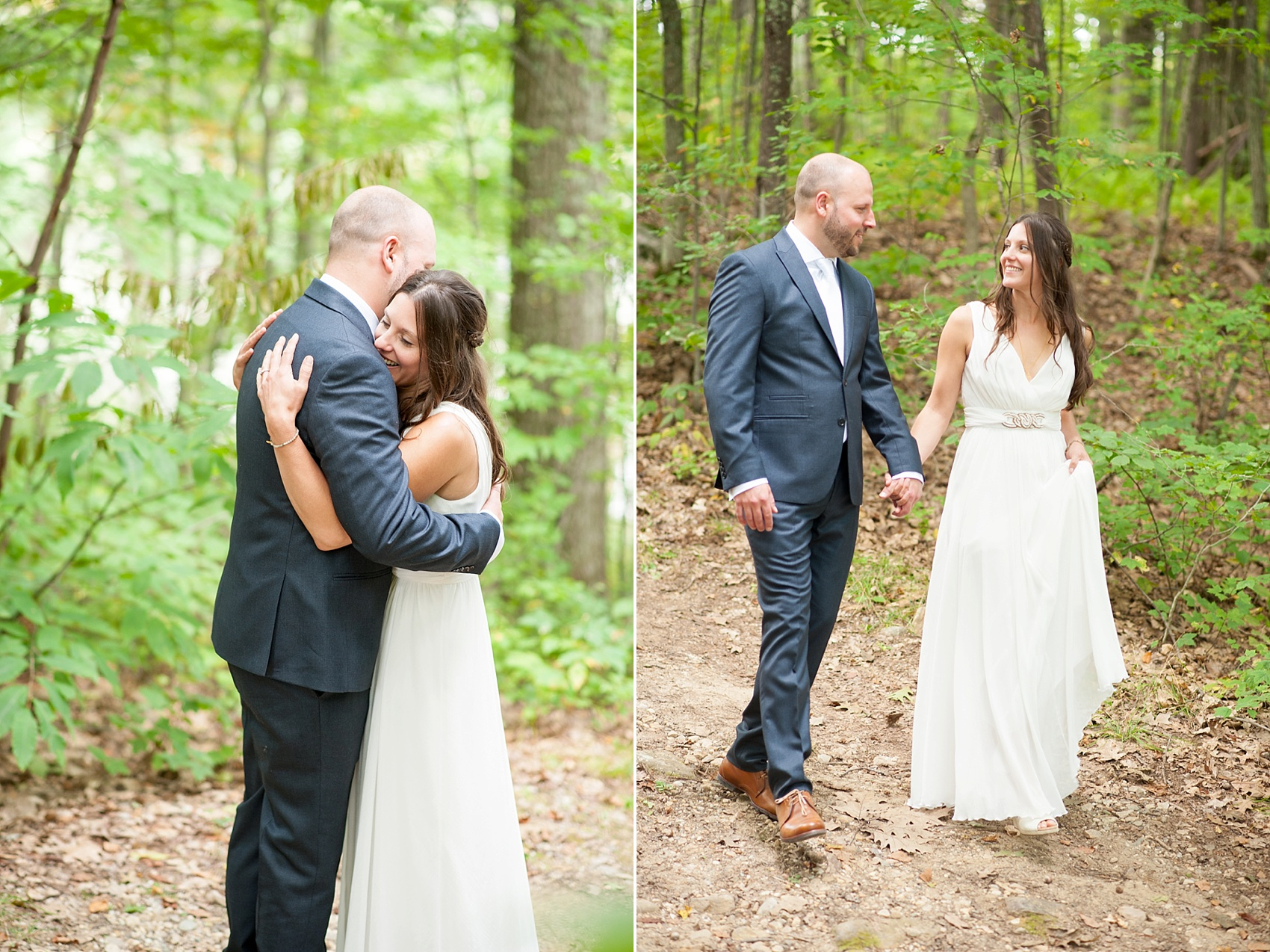 Bride and groom at their rustic Massachusetts Berkshires wedding at Camp Wa Wa Segowea. Photos by Mikkel Paige Photography, destination wedding photographer.