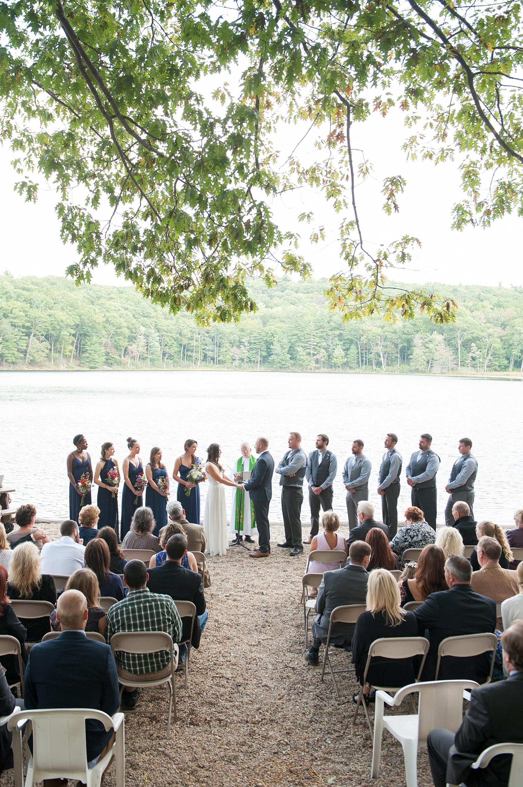 Rustic lakeside Berkshires camp wedding. Photos by Massachusetts wedding photographer, Mikkel Paige Photography.