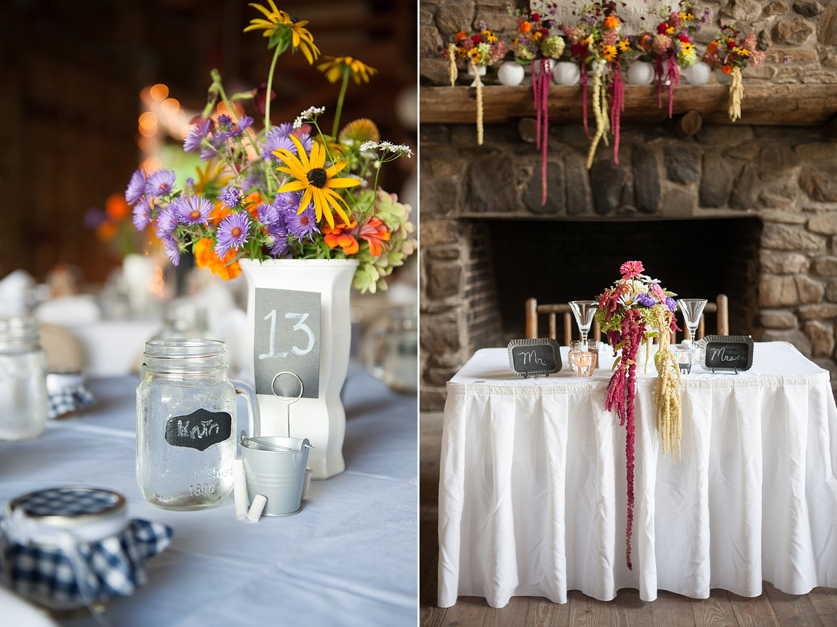 Rustic Berkshires camp wedding wildflowers. Photos by Massachusetts wedding photographer, Mikkel Paige Photography.