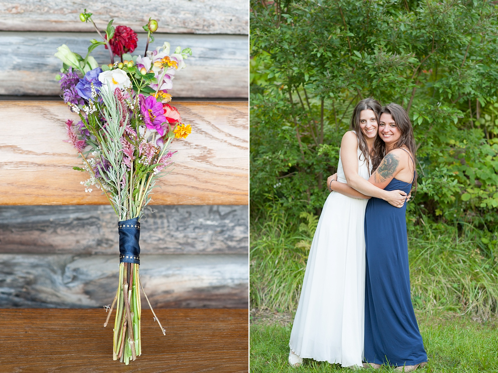 Rustic Berkshires camp wedding with wildflower bouquets. Photos by Massachusetts wedding photographer, Mikkel Paige Photography.