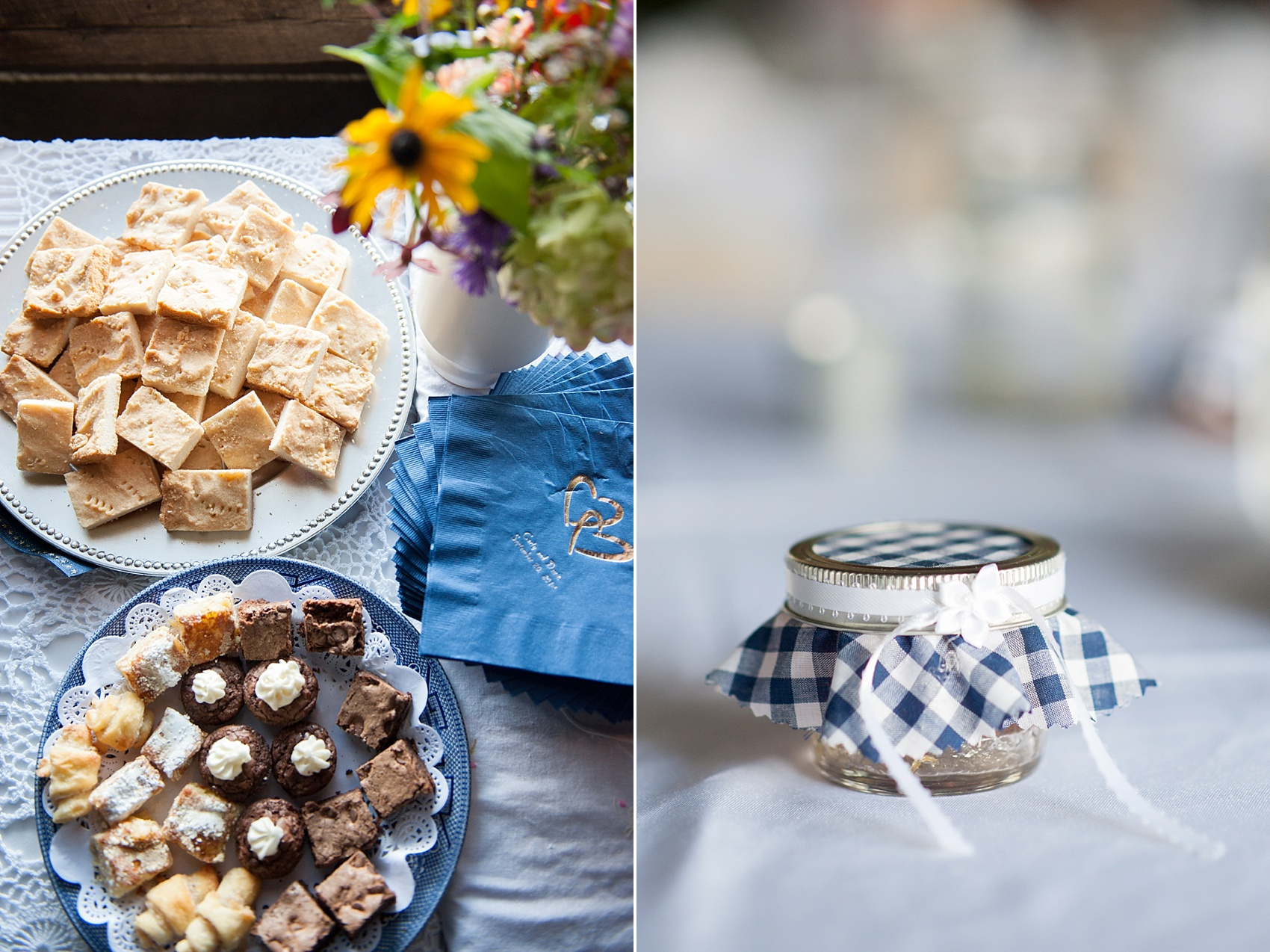 Rustic Berkshires camp wedding with homemade desserts and jam. Photos by Massachusetts wedding photographer, Mikkel Paige Photography.