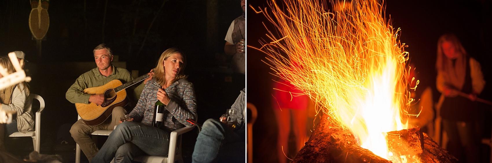 Rustic Berkshires camp wedding bonfire. Photos by Massachusetts wedding photographer, Mikkel Paige Photography.