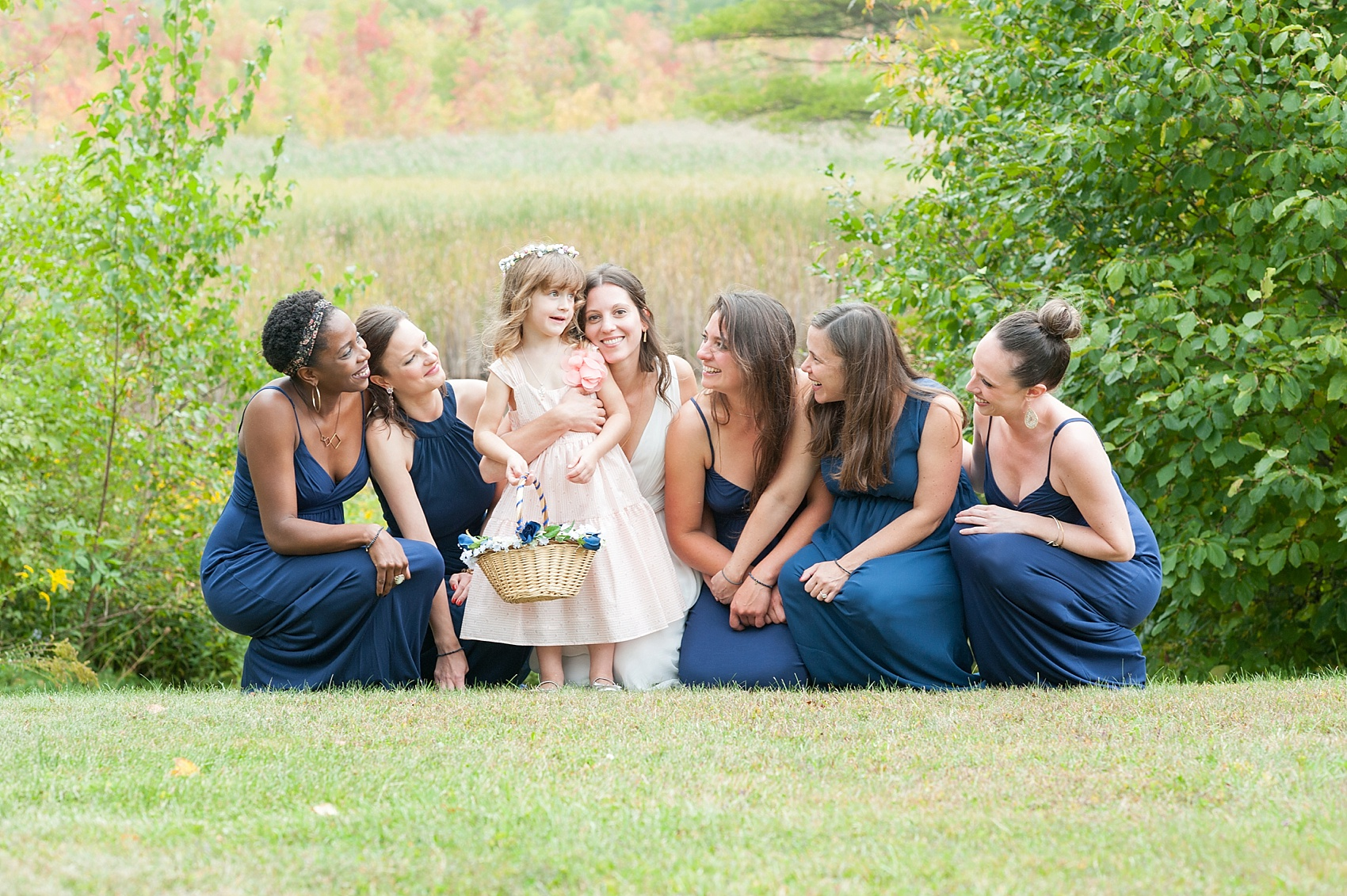Berkshires camp wedding, navy bridesmaids and wildflower bouquets, photography by Mikkel Paige Photography.