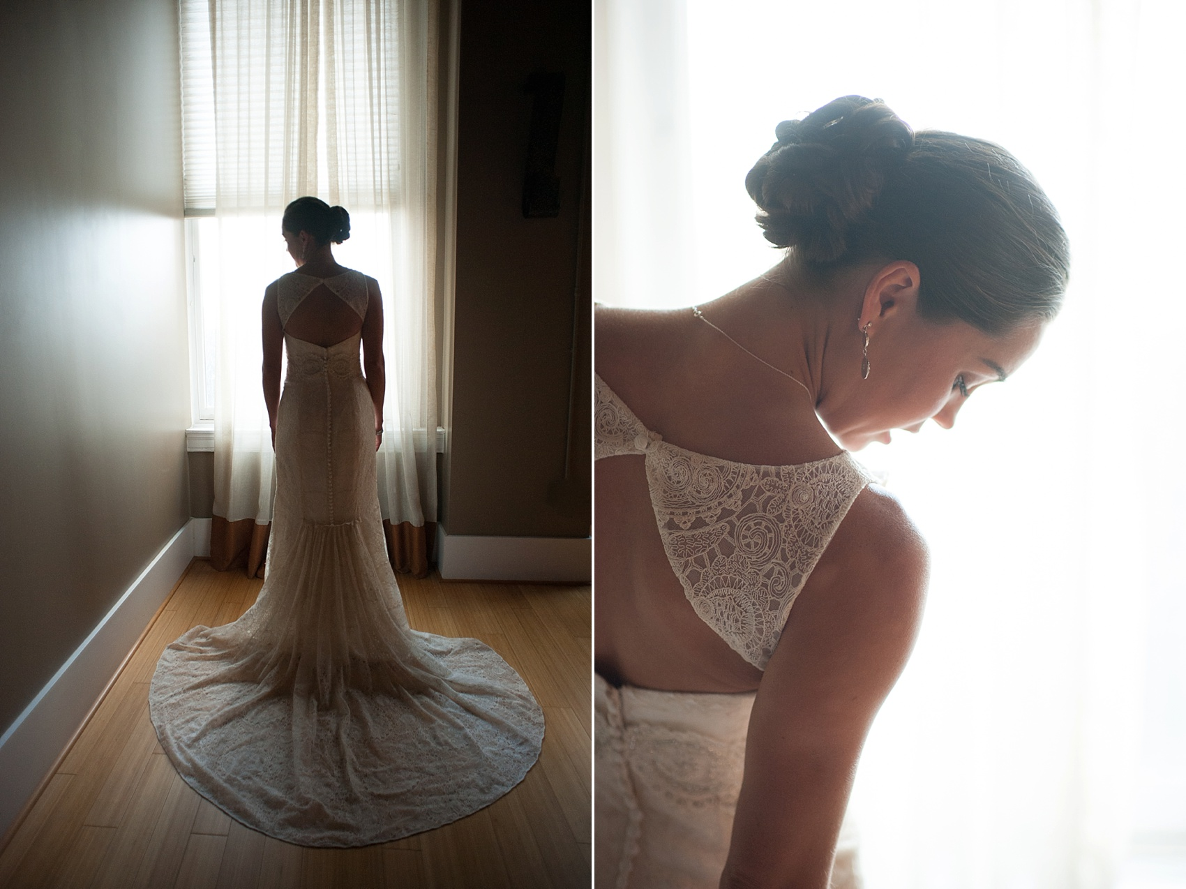 Bride getting ready for her downtown Cincinnati, Ohio wedding at The Center. Photos by Mikkel Paige Photography.