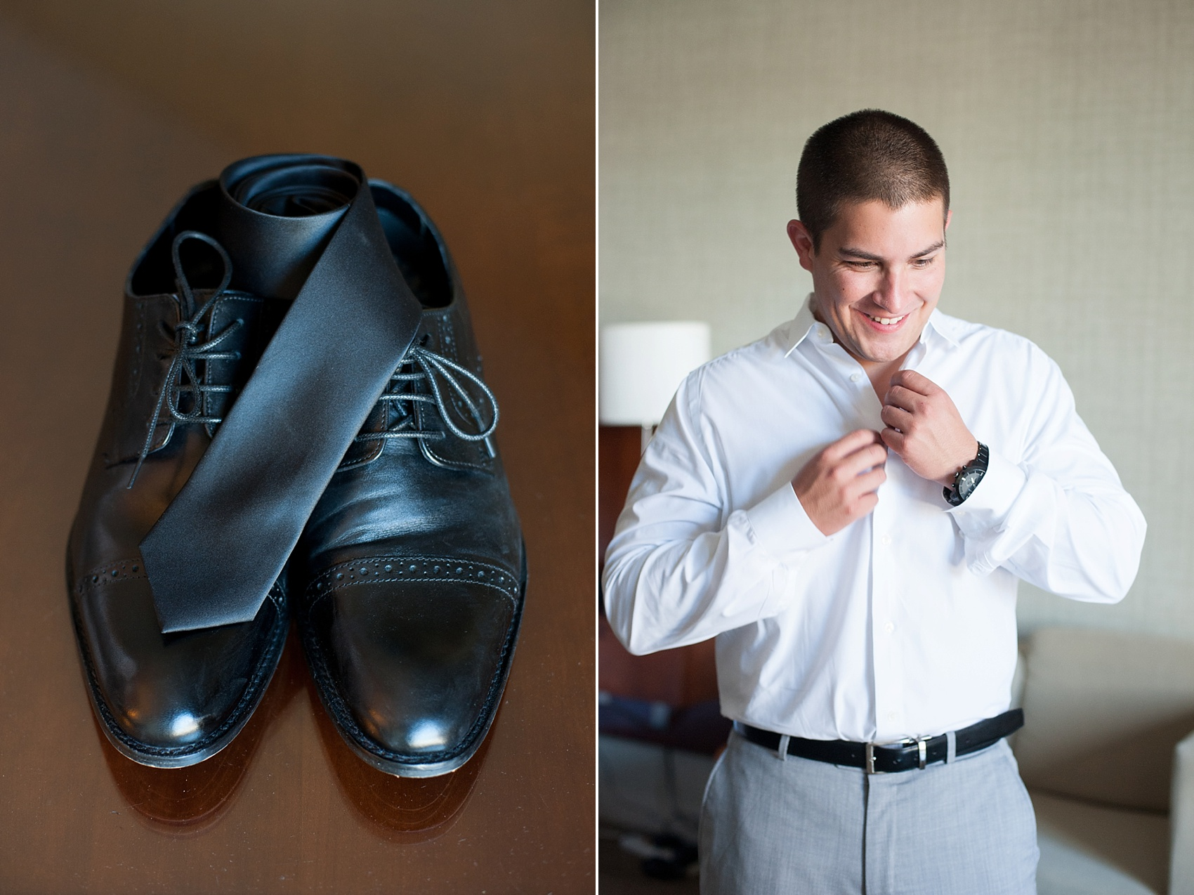 Groom prep for downtown Cincinnati, Ohio wedding at The Center. Photos by Mikkel Paige Photography.