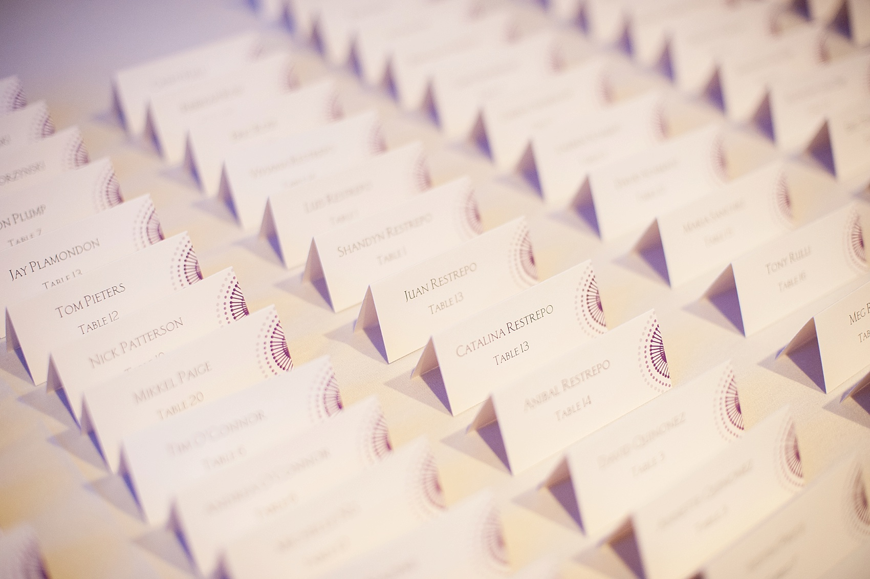 Purple and white escort cards at The Center, downtown Cincinnati, Ohio. Photos by Mikkel Paige Photography.