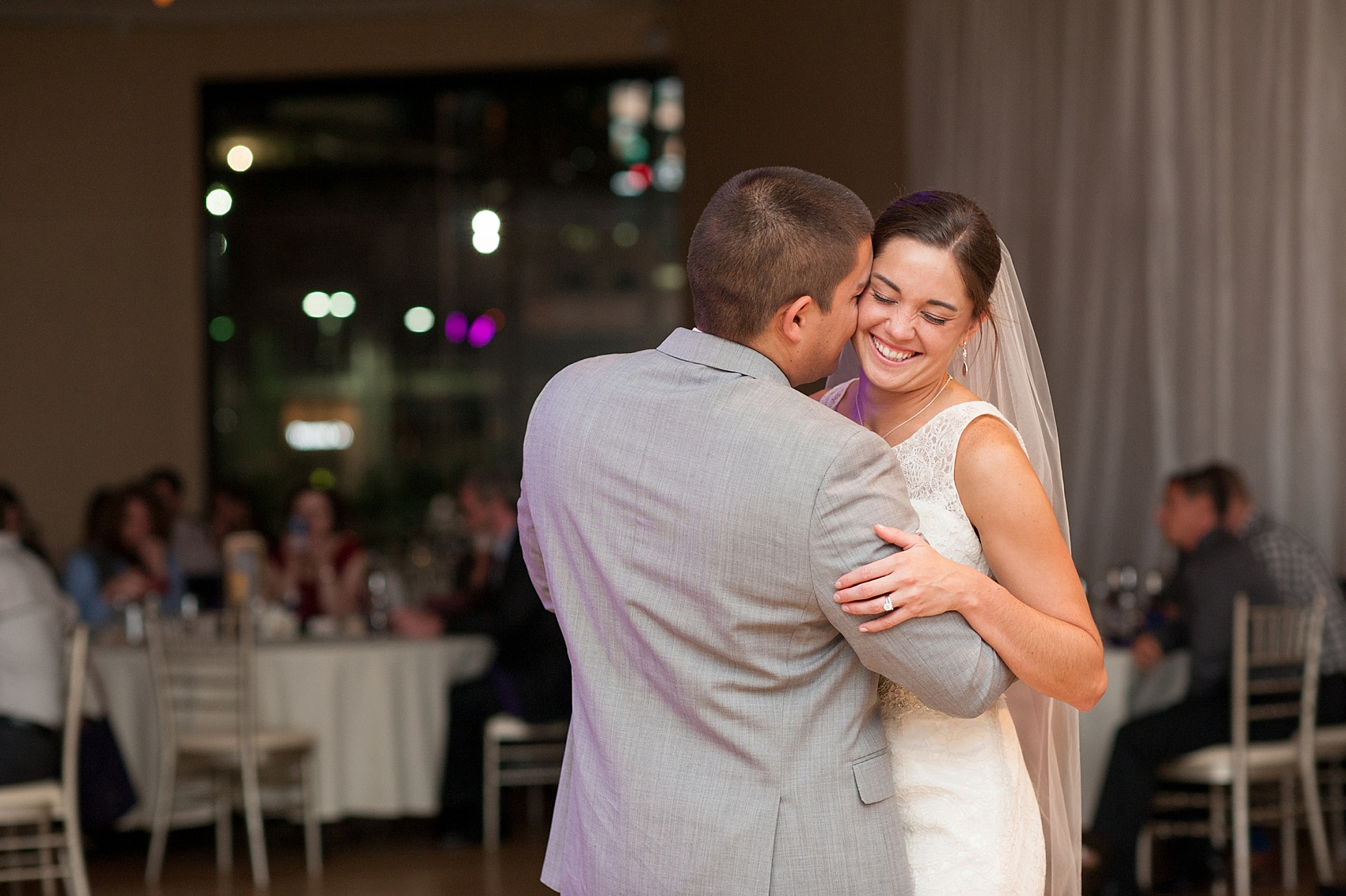 First dance for a wedding at The Center, downtown Cincinnati, Ohio. Photos by Mikkel Paige Photography.