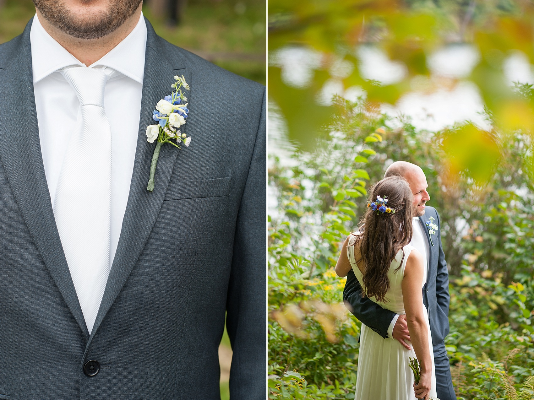 Wildflower boutonniere for a rustic Massachusetts Berkshires wedding at Camp Wa Wa Segowea. Photos by Mikkel Paige Photography, destination wedding photographer.